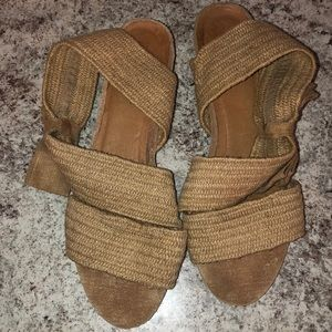 Burlap colored elastic Sandals With Bow Detail